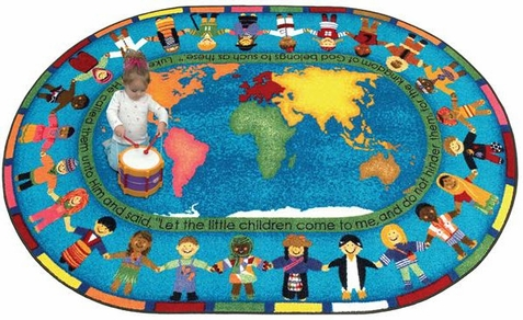 Let the Children Come Sunday School Rug 10'9 x 13'2 Oval