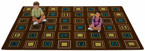 Literacy Squares Factory Second Area Rug 8' x 12'