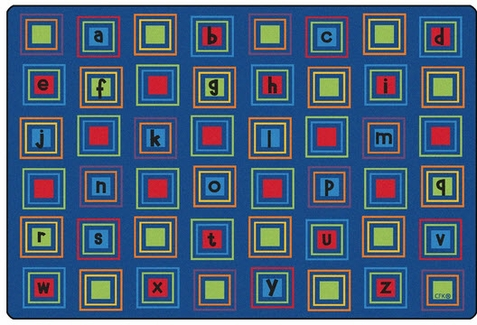 Literacy Squares Seating Rug Primary 4' x 6' Rectangle