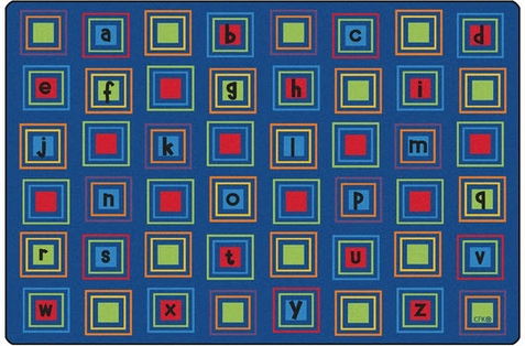 Literacy Squares Seating Rug Primary 6' x 9' Rectangle