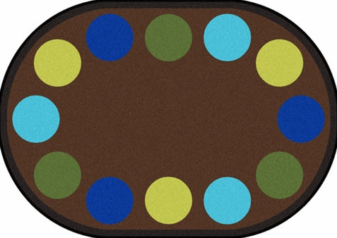 Lots of Dots Earthtones Seating Rug 5'4 x 7'8 Oval