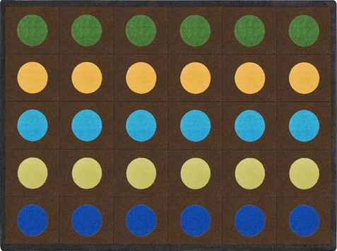 Lots of Dots Earthtones Seating Rug 7'8 x 10'9 Rectangle - 30 Dots