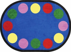 Lots of Dots Kids Area Rug 10'9 x 13'2 Oval - 30 Dots