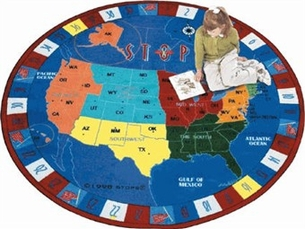 Map of the U.S.A. Area Rug 7'7 Round