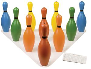 Multi-Color Plastic Bowling Pin Set