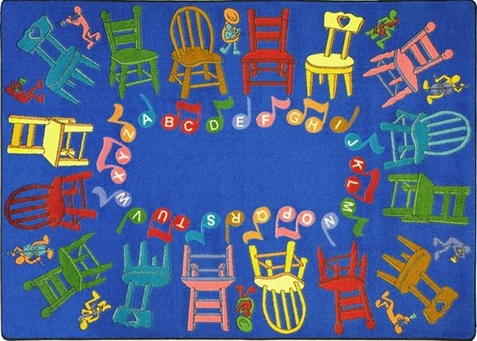 Musical Chairs Educational Carpet 5'4 x 7'8