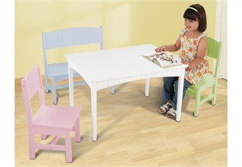 KidKraft Nantucket Pastel Table with Bench and 2 Chairs