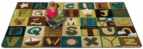 Natures Colors Alphabet Blocks School Rug - Factory Second 4' x 6'