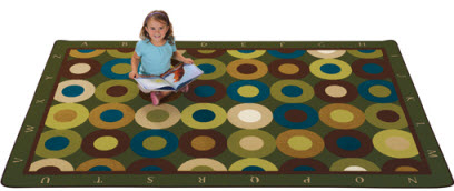 Natures Colors Calming Circles Rug w/ Alphabet Border 4' x 6'