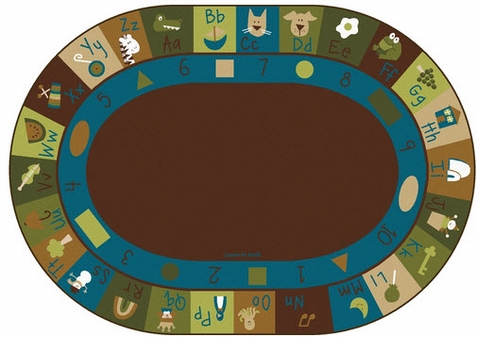 Natures Colors Learning Blocks Factory Second Classroom Rug 6'9 x 9'5 Oval