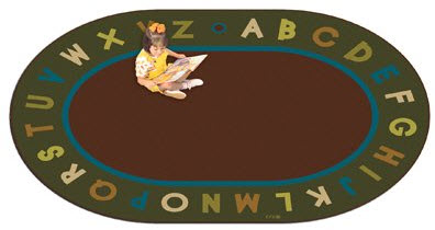 Natures Colors Oval Alphabet Circletime Classroom Rug 6' x 9' Oval