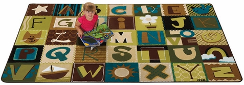 Natures Colors Toddler Alphabet Blocks Rug 6' x 9'