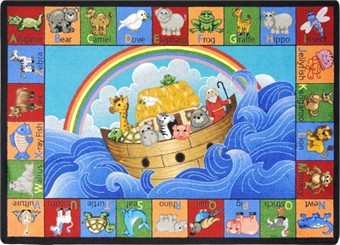 Noah's Alphabet Animals Church Nursery Rug 7'8 x 10'9