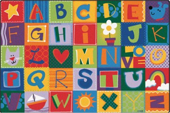 Nursery School Alphabet Blocks Rug 4' x 6'