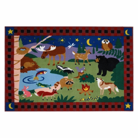 Olive Kids Camp Fire Friends Area Rug - Free Shipping