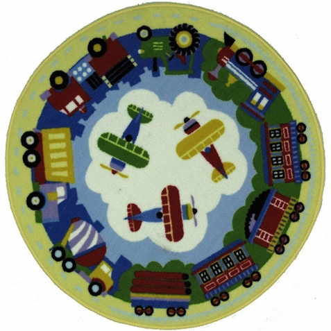 Olive Kids Round Trains Planes Trucks Area Rug