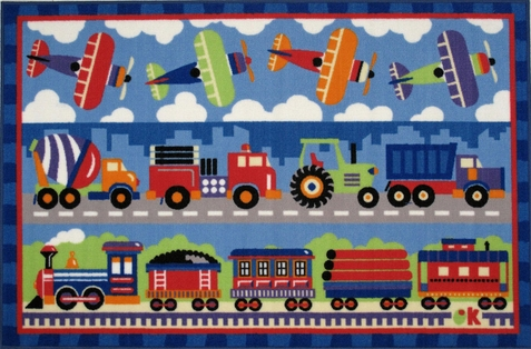Trains, Planes & Trucks Area Rug - Free Shipping