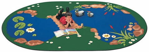 Oval Pond Carpet for Classrooms 8'3 x 11'8