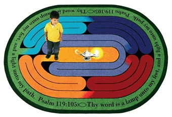 Pathway of Light Church Rug 5'4 x 7'8 Oval