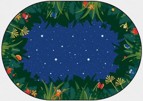 Peaceful Tropical Night Oval Classroom Rug 8' x 12'