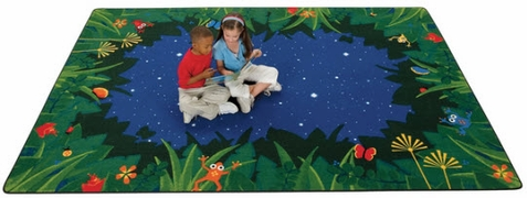 Peaceful Tropical Night Playroom Rug 6' x 9'