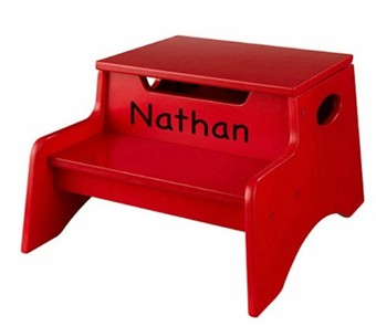KidKraft Personalized Red Step 'n Store Stool