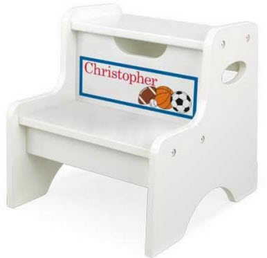 KidKraft Personalized White Two Step Stool