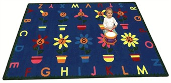 Petal Pushers Rectangle Alphabet Rug 3'10 x 5'4
