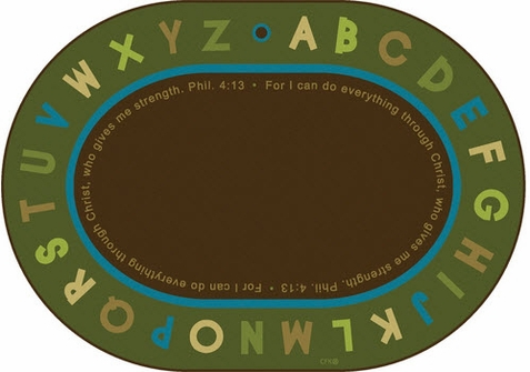 Philippians 4:13 Oval Literacy Rug Nature Colors 6' x 9'