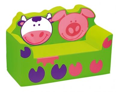 Waiting Area Piggy and Cow Vinyl and Foam Kids Sofa