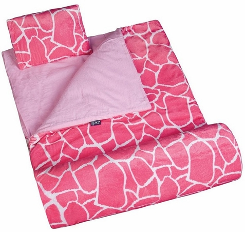 Pink Giraffe Plush Sleeping Bag