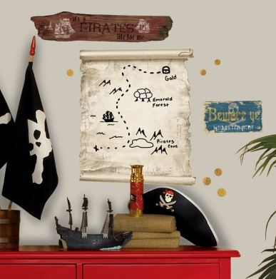 Pirate Map Dry Erase Giant Wall Decal - Free Shipping