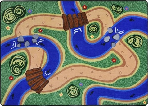 Pretend & Play Road and River Educational Rug 5'4 x 7'8