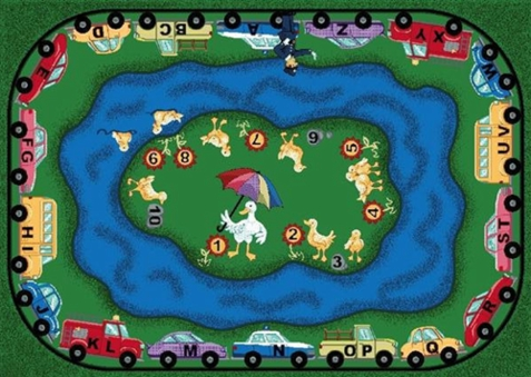 Puddle Ducks Playroom Carpet 5'4 x 7'8 Rectangle