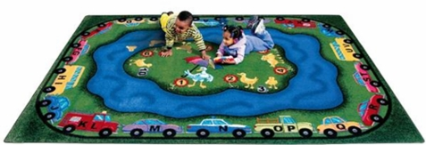 Puddle Ducks Playroom Carpet 7'8 x 10'9 Rectangle