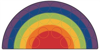 Rainbow Rows Semi-Circle Kids Seating Rug 6' x 12'