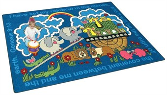 Rainbows Promise Faith Based Children's Rug 10'9 x 13'2 Rectangle