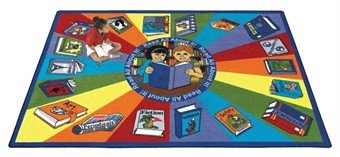 Read All About It Classroom Rug 5'4 x 7'8 Rectangle