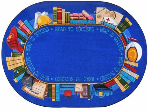 Read to Succeed Classroom Rug 5'4 x 7'8 Oval