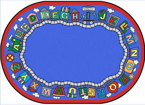 Reading Train School Rug 7'8 x 10'9 Oval