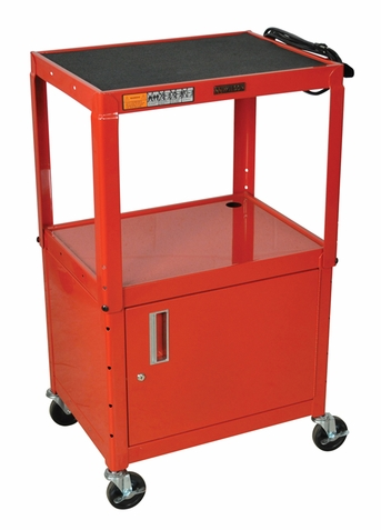 Red Adjustable Utility Cart with Cabinet