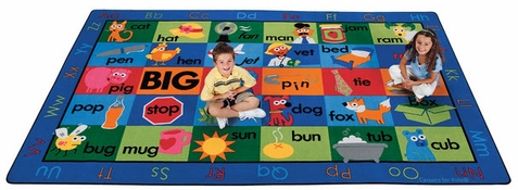Rhyme Time Alphabet Classroom Rectangle Rug 7'6 x 12'