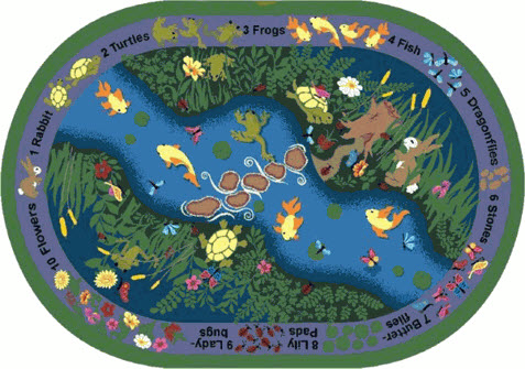 River & Animals Kids Area Rug 7'8 x 10'9 Oval
