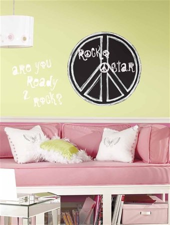 Rock 'N Roll Peace Sign Chalkboard Peel & Stick MegaPack