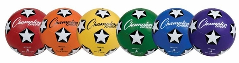 Champion Sports Rubber Cover Soccer Ball - Set of 6