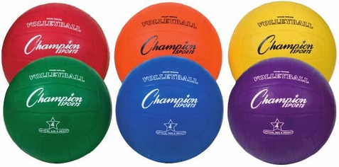 Champion Sports Rubber Volleyball - Set of 6