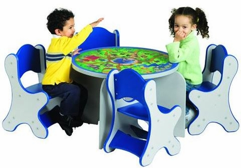 Safari Adventure Table & 4 Blue Chairs Set