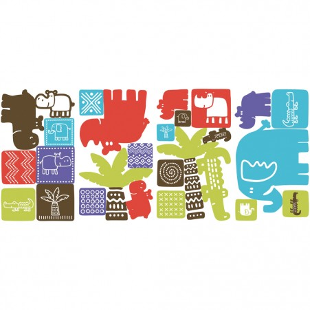 RoomMates Safari Blocks Peel & Stick Wall Decals
