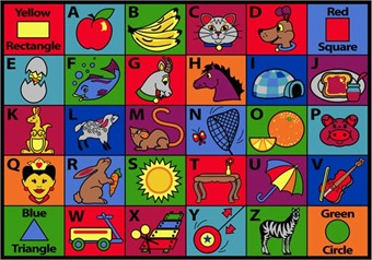 Say My Name Preschool Area Rug 10'9 x 13'2 Rectangle