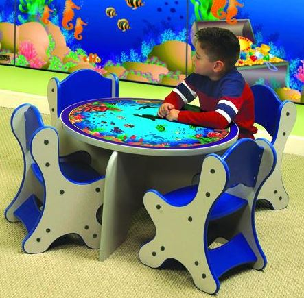 Seascape Table & 4 Blue Chairs Set